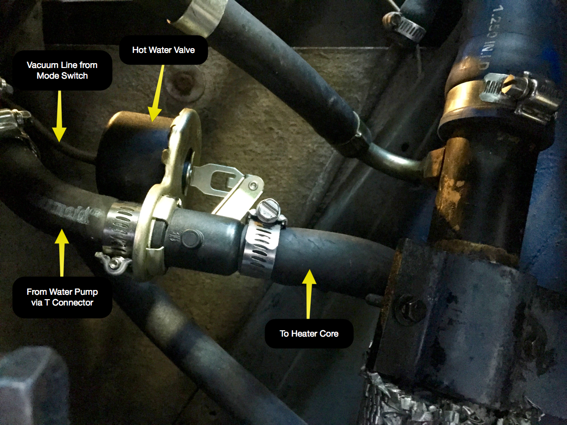 The hot water valve repositioned under the body of the car, next to the transmission.