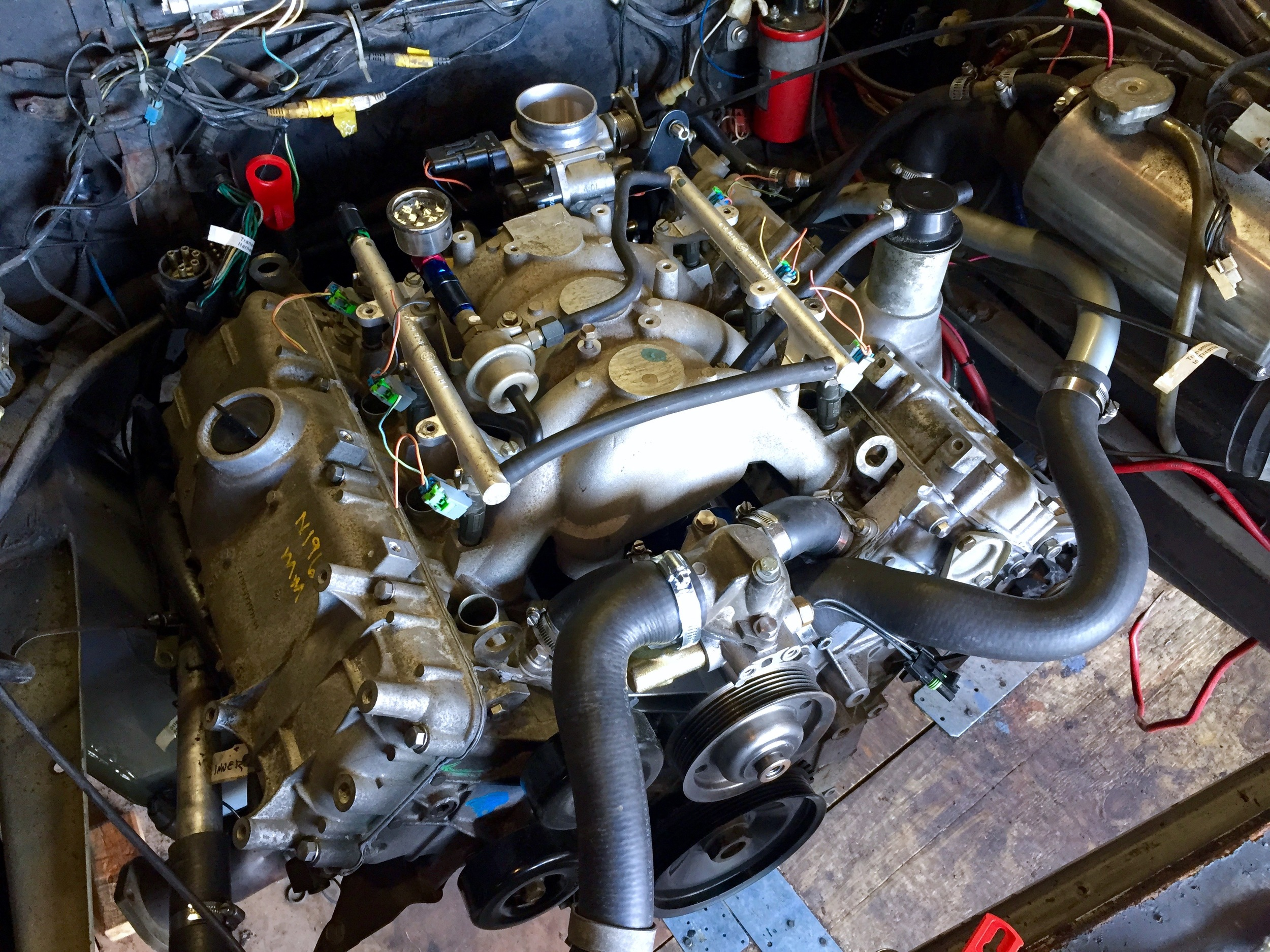 The manifold fully installed on the engine.