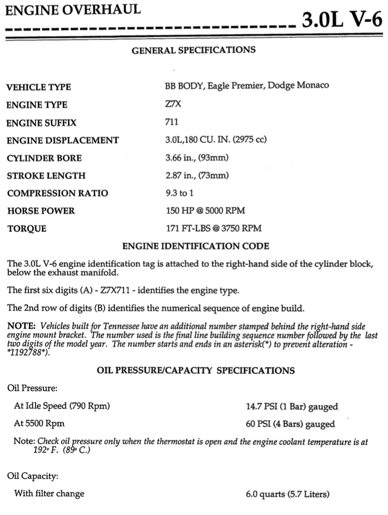 Page 2 of the 3.0L Engine Overhaul Manual, listing the specs of the engine.