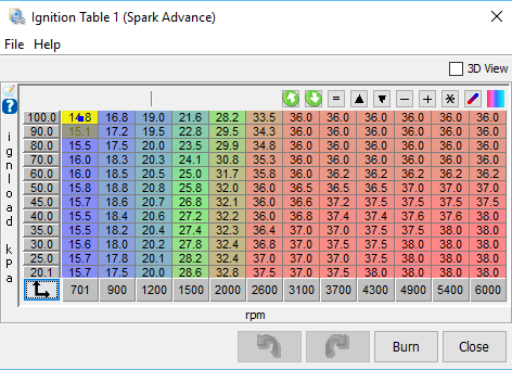 Initial spark advance table, as generated with the tool described above.