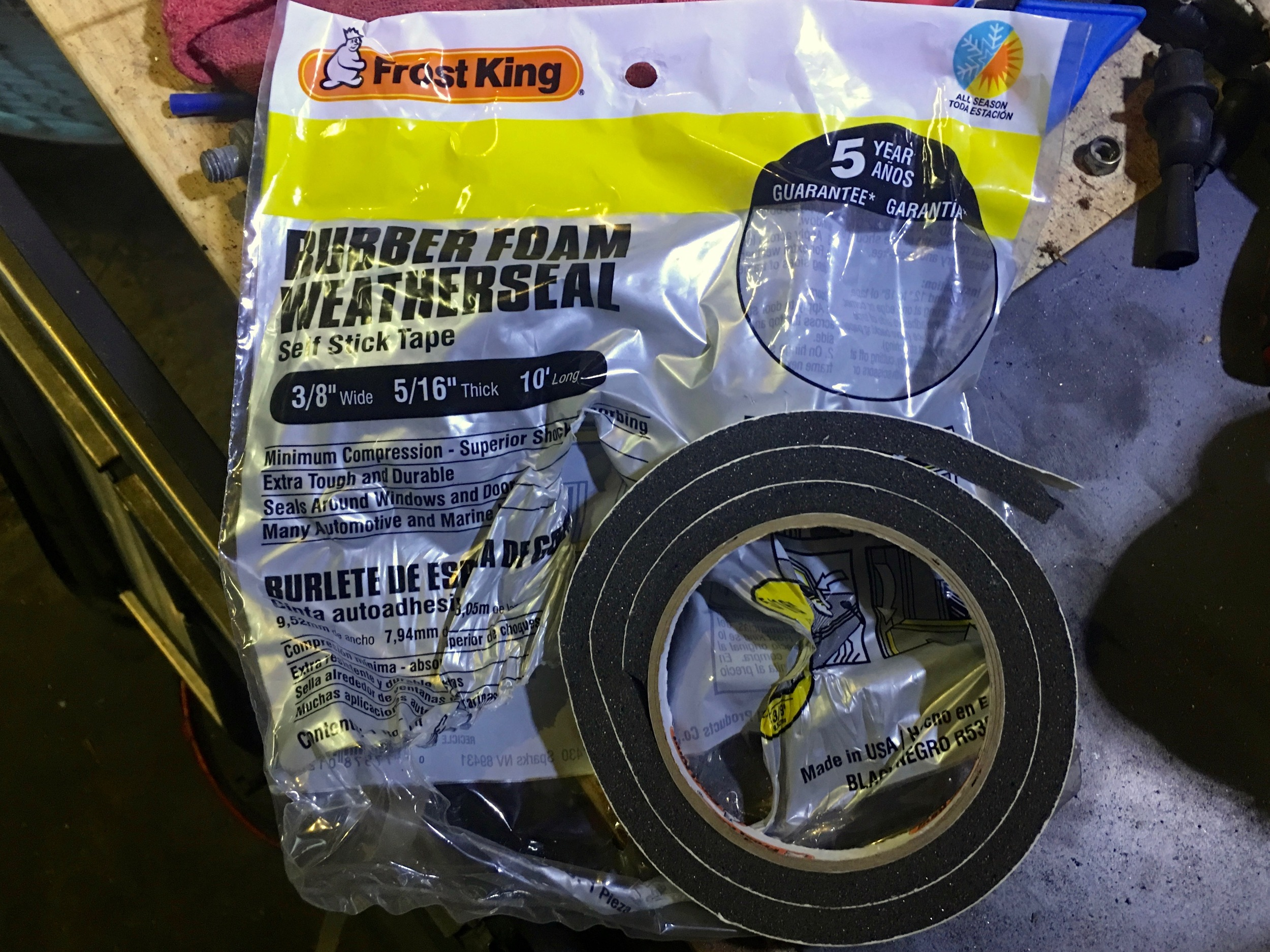 The foam rubber weatherstripping I used. Two rolls were enough for the entire engine cover.