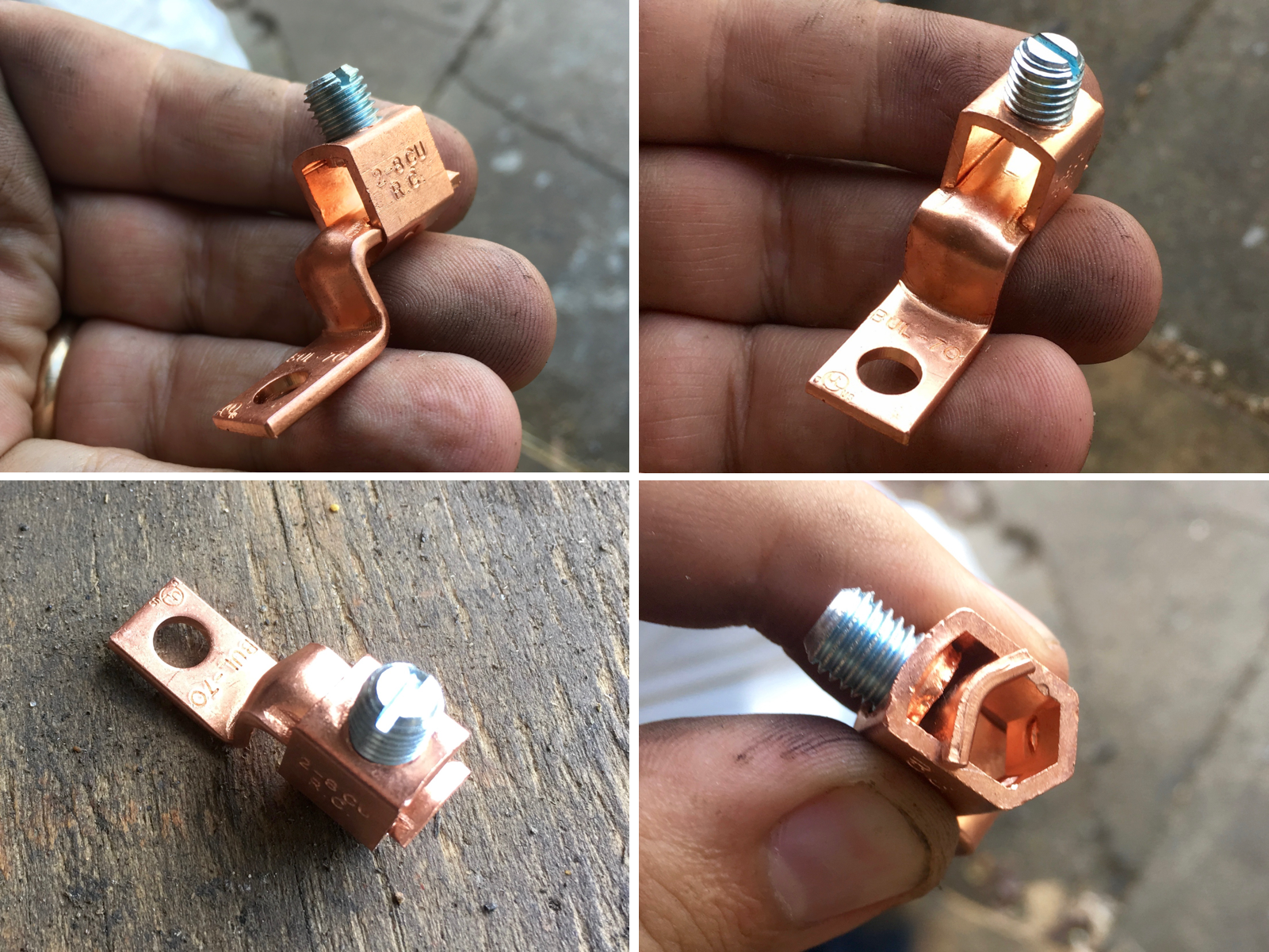 An example of a 4 gauge copper wire lug.  I wound up using 2 gauge lugs to fit over the jumper cable insulation.