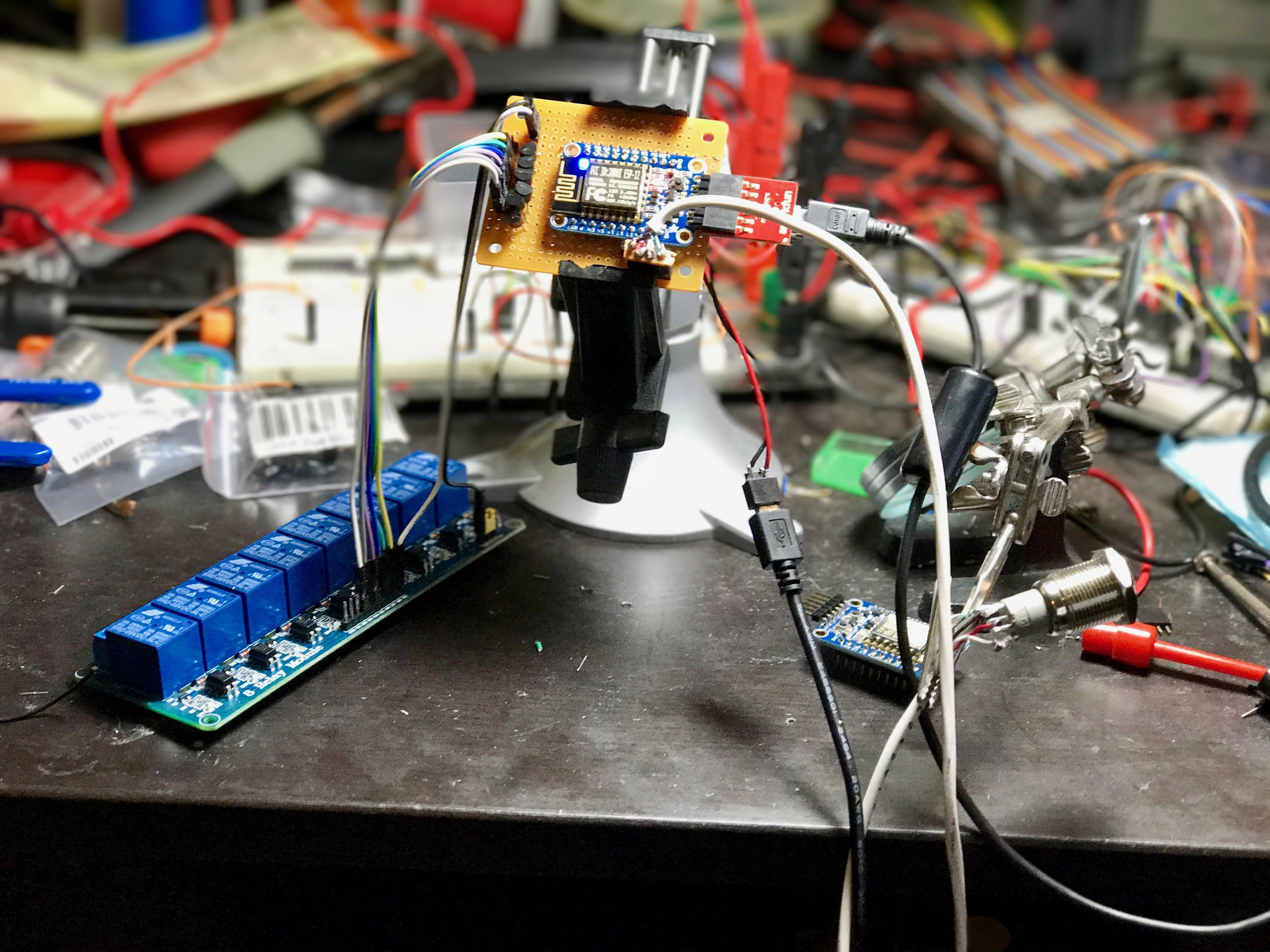 Initial testing of the relay board and the HUZZAH.