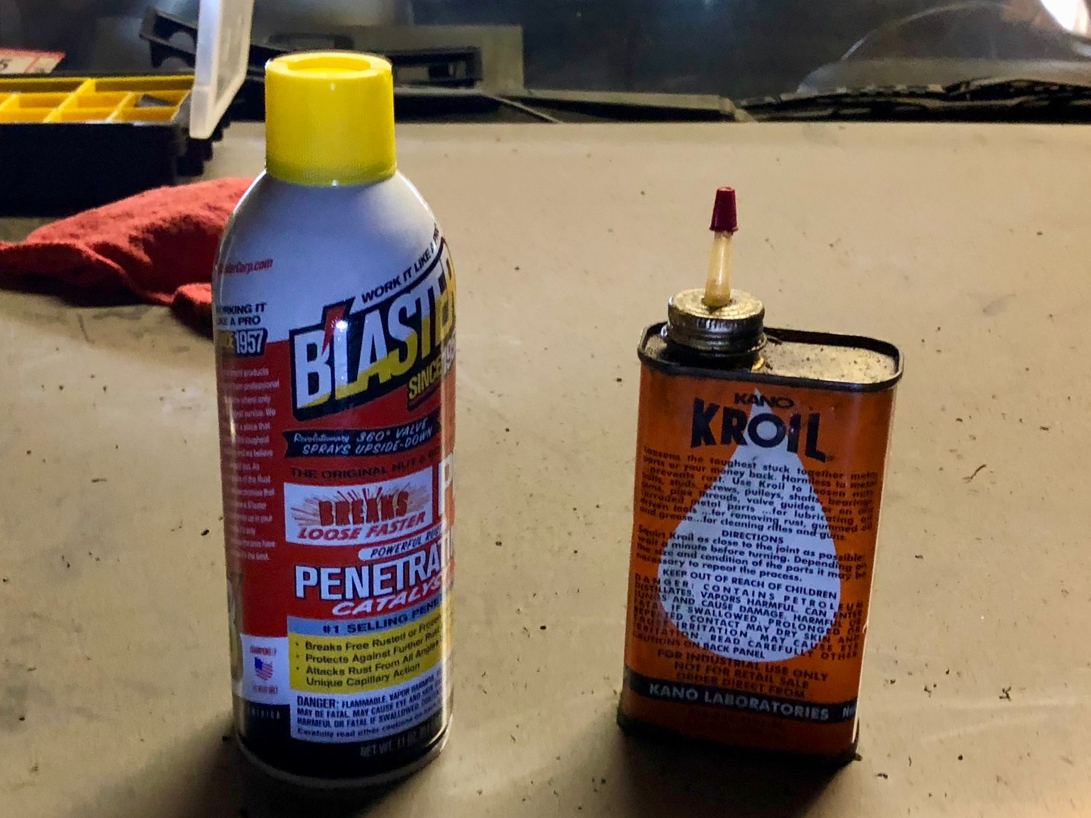 PB Blaster and Kroil, which I used to help break the corrosion on the hose ends.