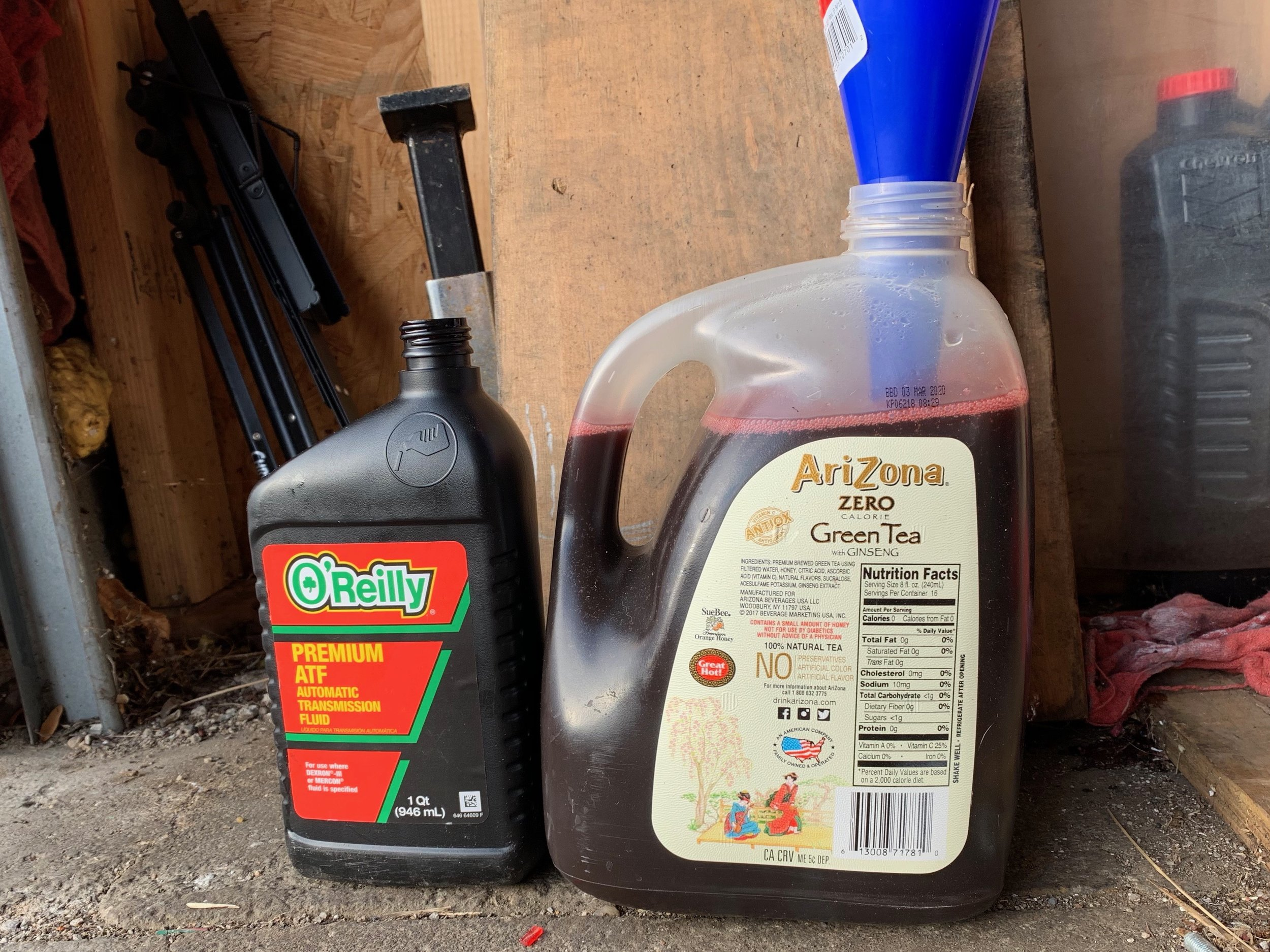 Poured into a one gallon bottle, revealing that I got between 3.25 and 3.5 quarts out of the transmission. I put the same amount back in.
