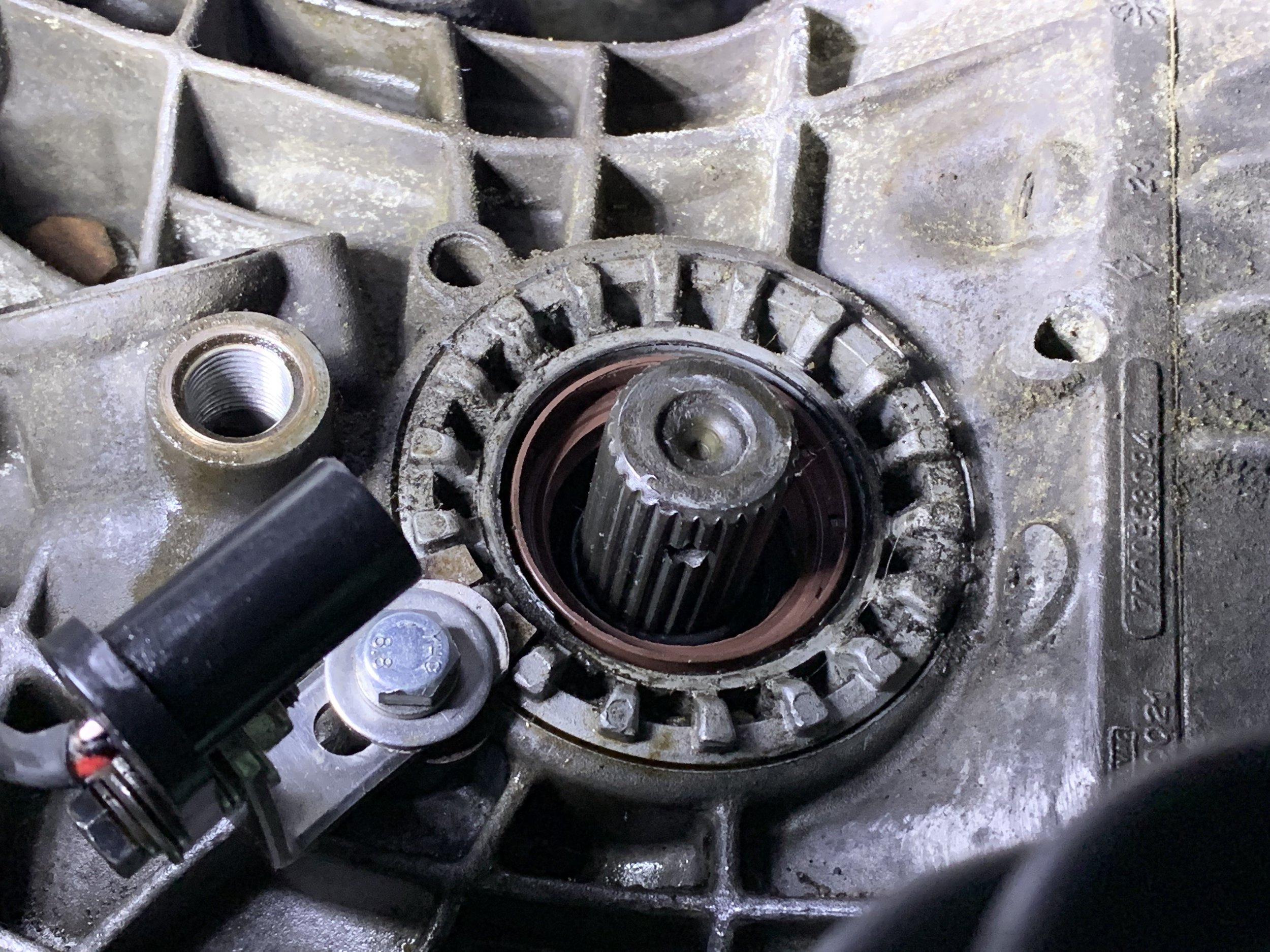 The new seal installed in the transmission.