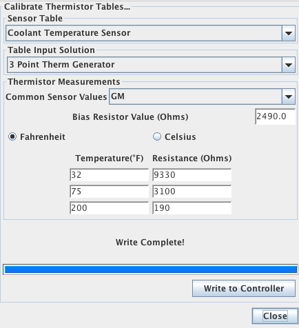 My calibrated coolant temperature settings in TunerStudio, which reads about 5 degrees lower than the GM preset.