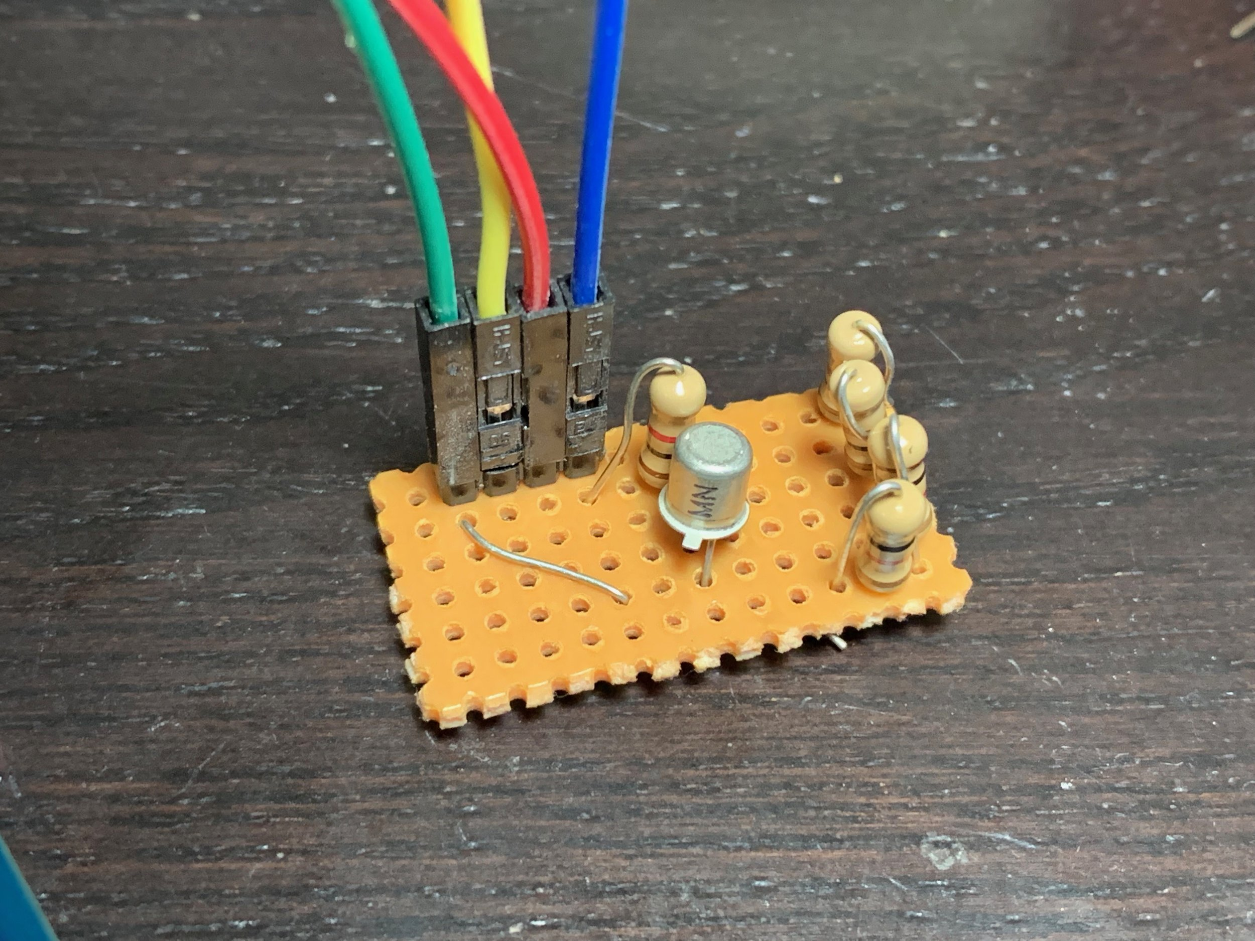 My going high transistor board. The four restores along replace the single 2200 ohm resistor I didn't have. The other resistor is a pull down, and the jumper wires lead to the MegaSquirt.