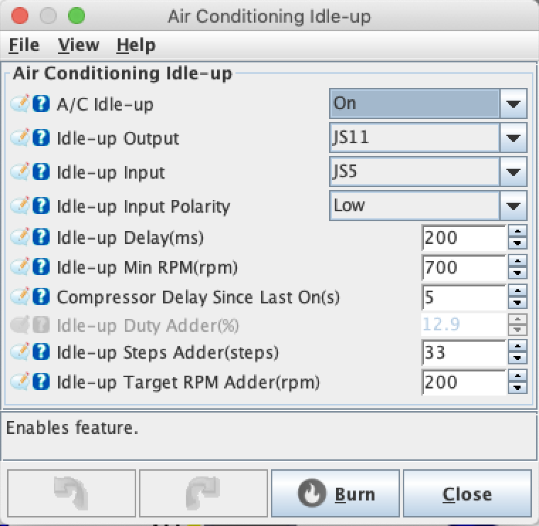 My initial A/C idle up settings, both for testing and for use in the car.