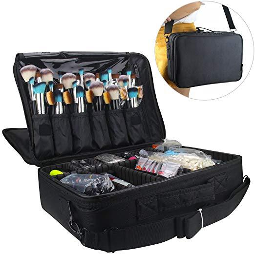 Professional Makeup Train Case 3 Layer Large Size with Adjustable Shoulder -