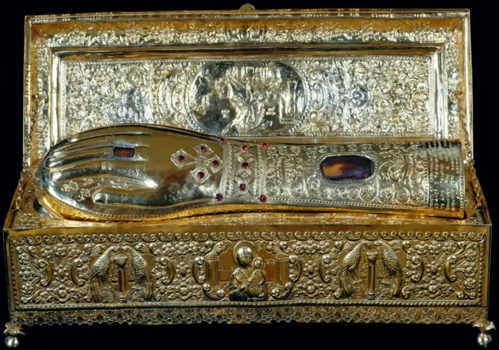 The sacred relic of the hand of St. George the Trophy-bearer