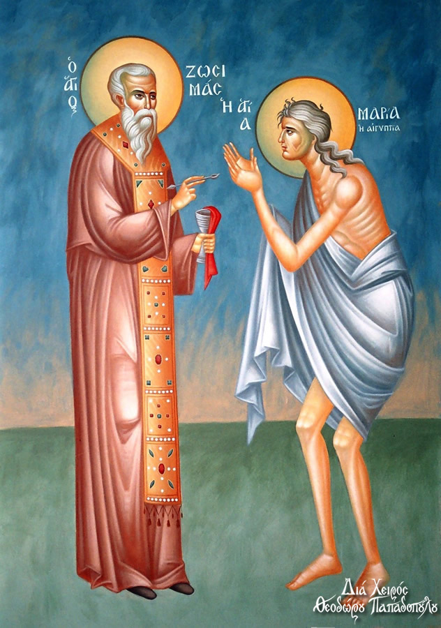 St. Mary of Egypt being communed by St. Zosmias