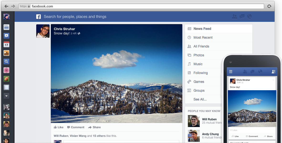 Facebook's demo photo of News Feed. Sorry for the generic screenshot, I still can't have this.