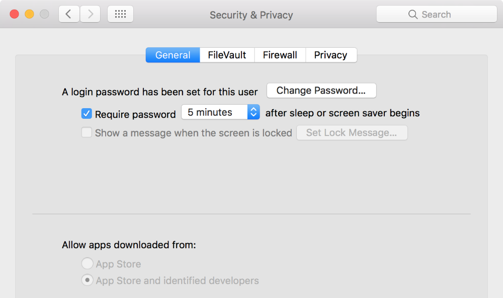 A section of the 'Security & Privacy' settings on macOS Sierra