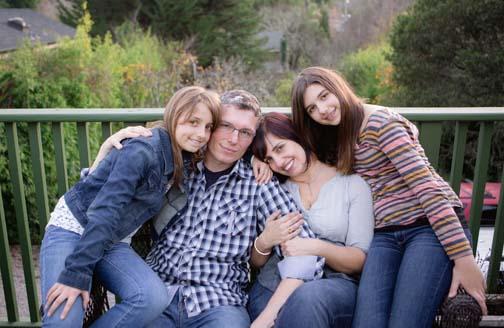 Ellen Mattesi, owner of Juvenile Hall Design with her younger daughter Marin, her husband Michael, and her older daughter Makenna.