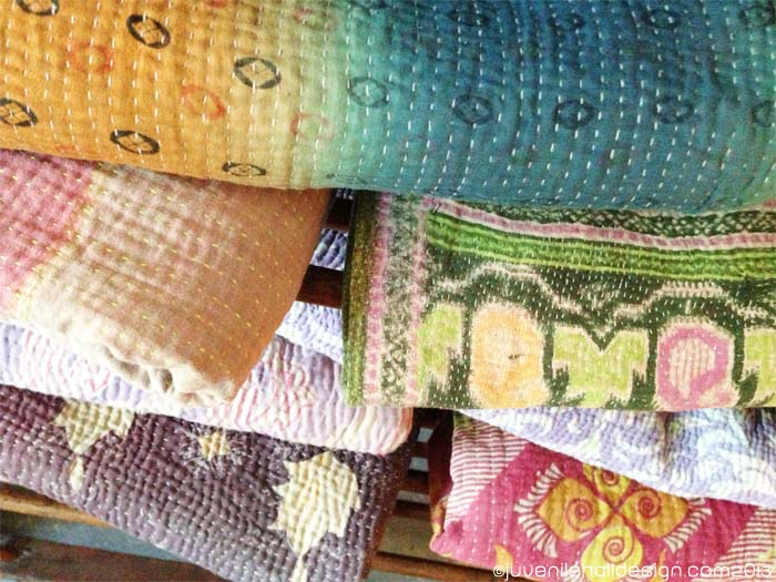 Collections of Kantha Quilts at  Weathered Nest, Mill Valley, CA