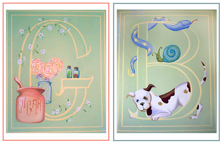 Set of mural illustrations for a twin boy/girl Nursery: Juvenile hall Design (Illusions of Grandeur) ©1998