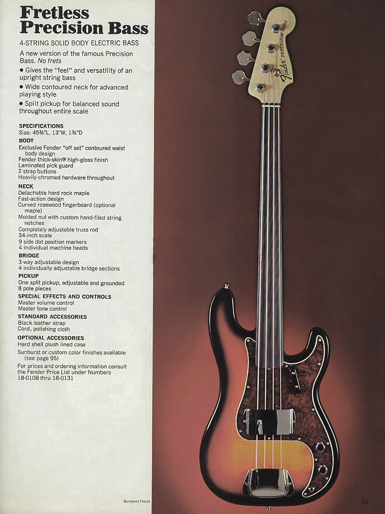 Fender Catalog, circa 1970 when the Fretless Precision was introduced