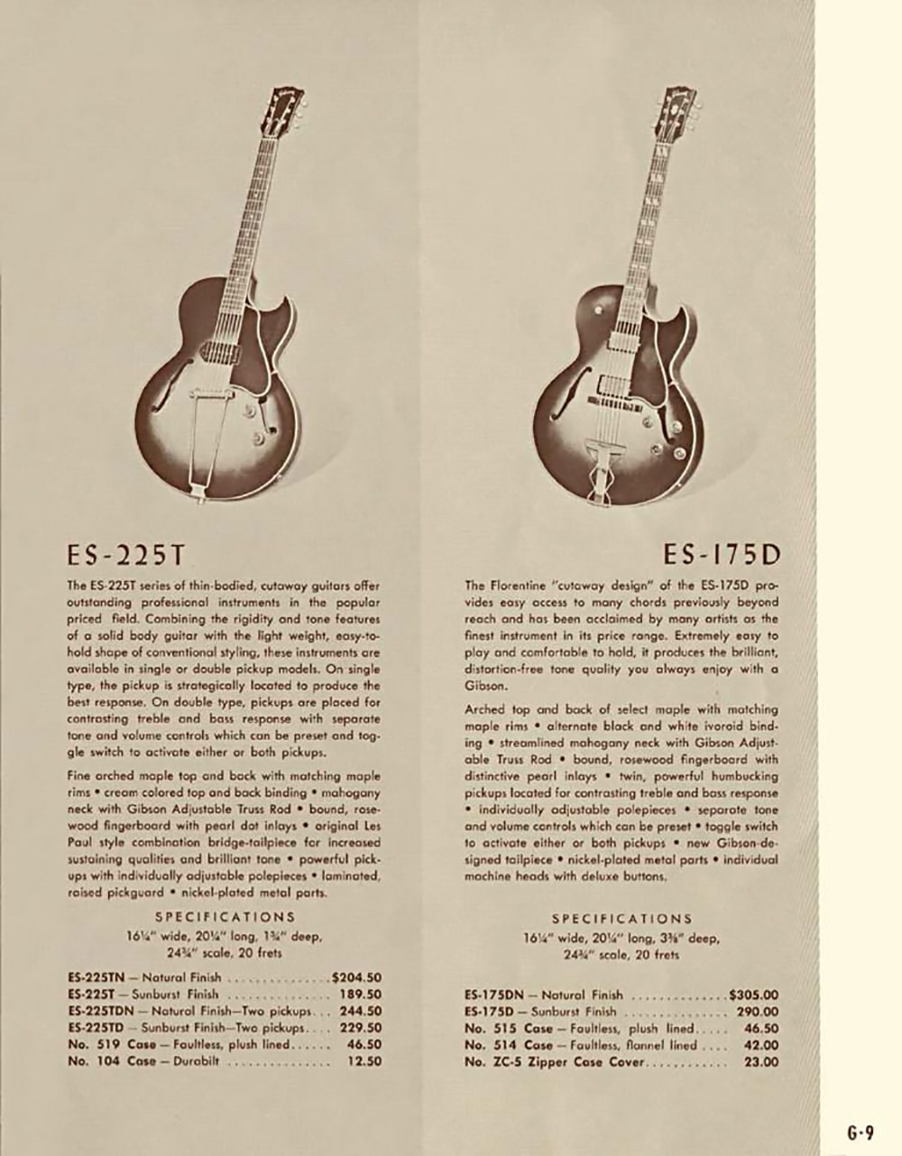 A page from the 1958 catalog showing the Thin Body ES-225T Model and Specs