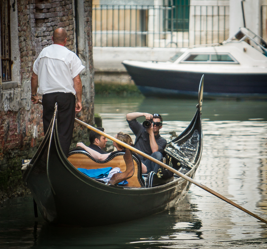 Jeb photographing a couple in Venice, Italy.