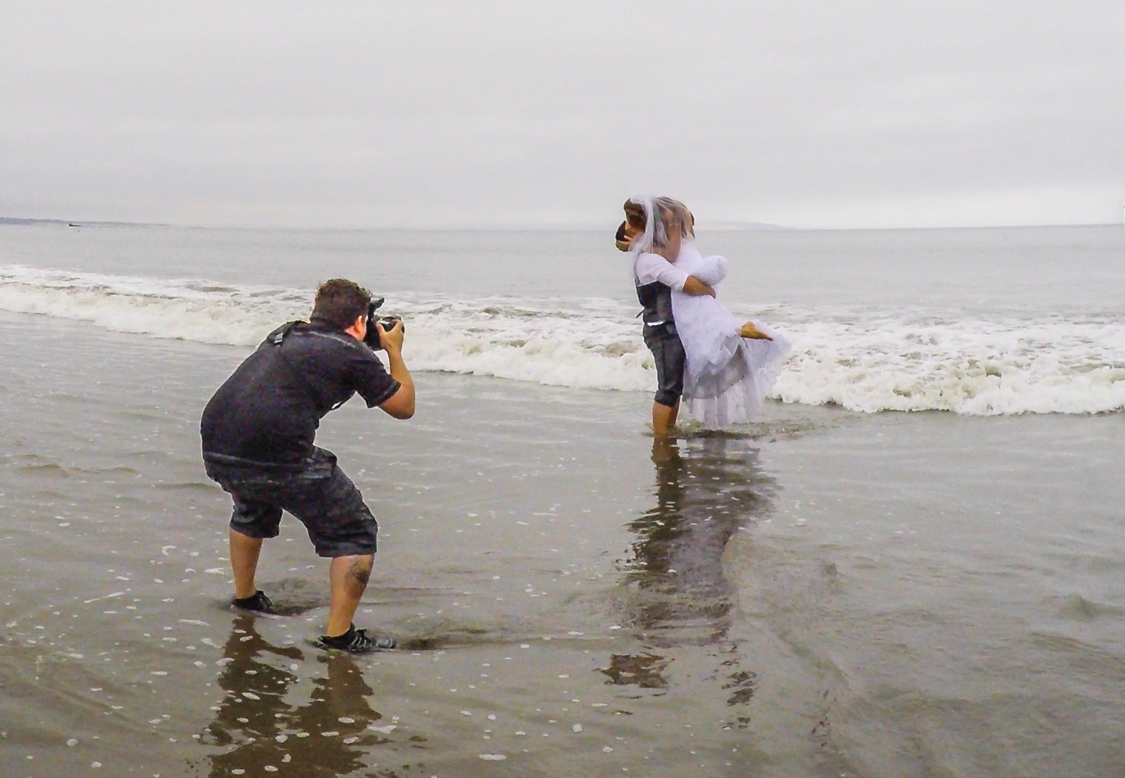 Shooting a couple in the ocean after the wedding...
