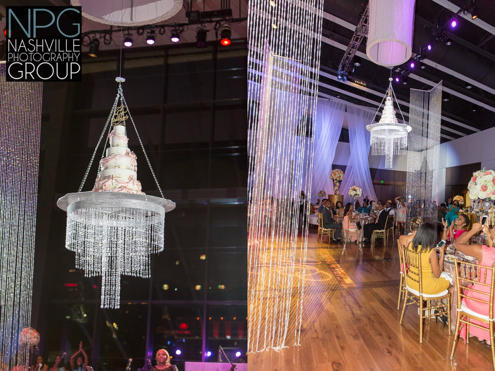 Jay Qualls  of the  Frosted Affair  bakery created this one of a kind wedding cake that was in the chandelier then lowered via motor to the dance floor.