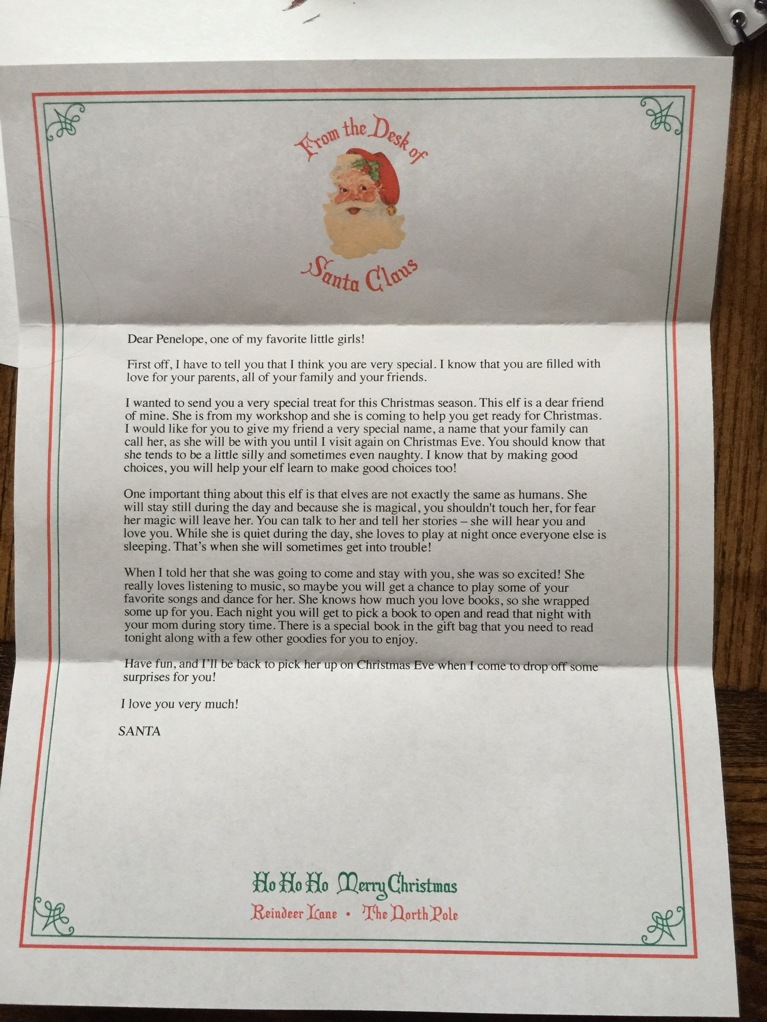 This letter from Santa came with Matilda when she arrived at our house