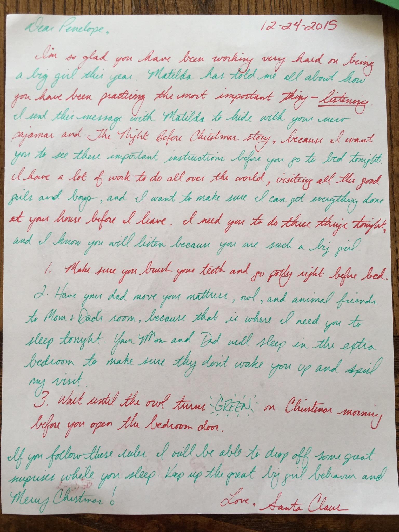 Santa's Christmas Eve instructions for Penelope