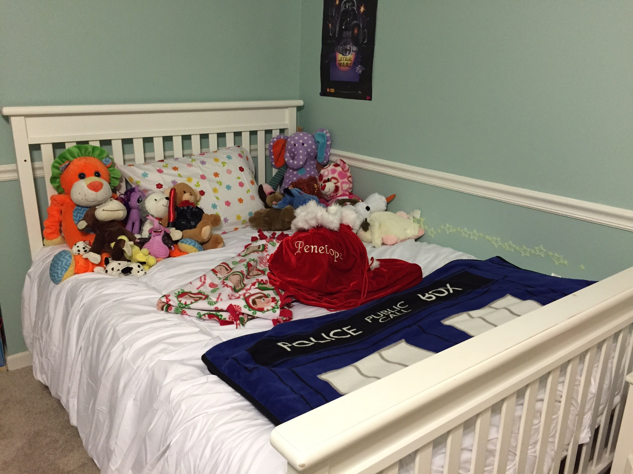 Penelope's new big girl bed with her Santa Sack in the middle