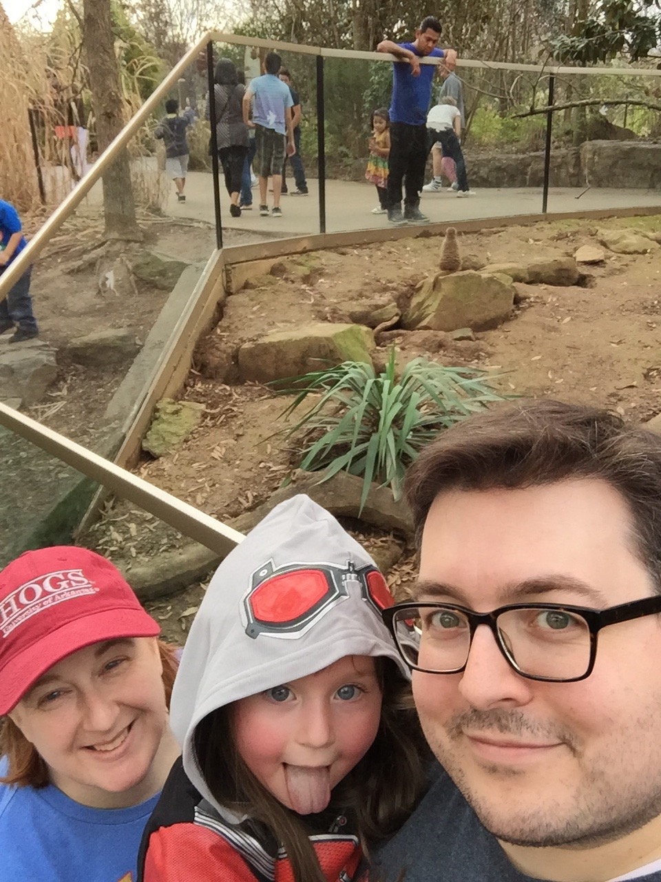 A selfie with our friend the meerkat on our latest trip to the Nashville Zoo