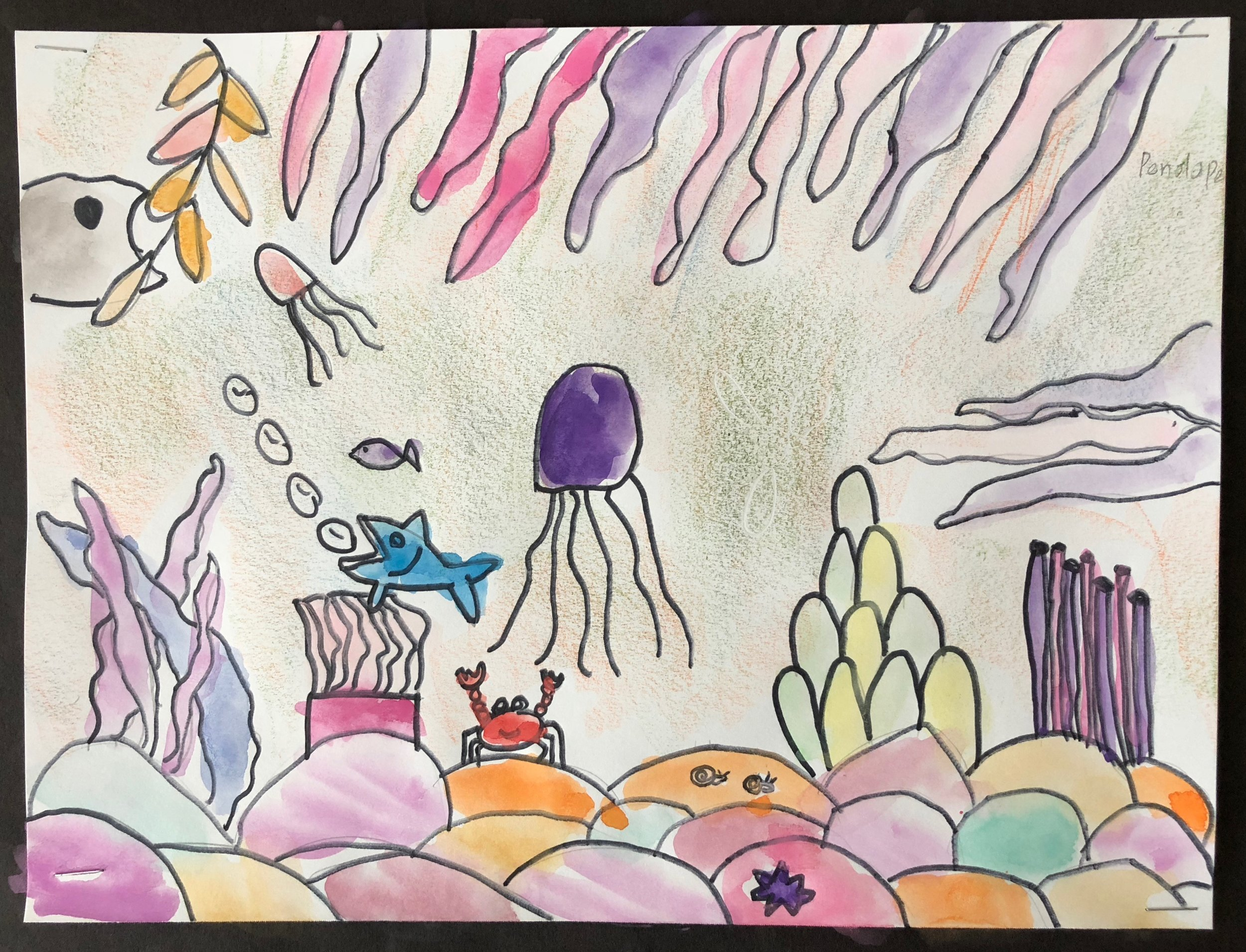 A mixed media underwater scene from Penelope.