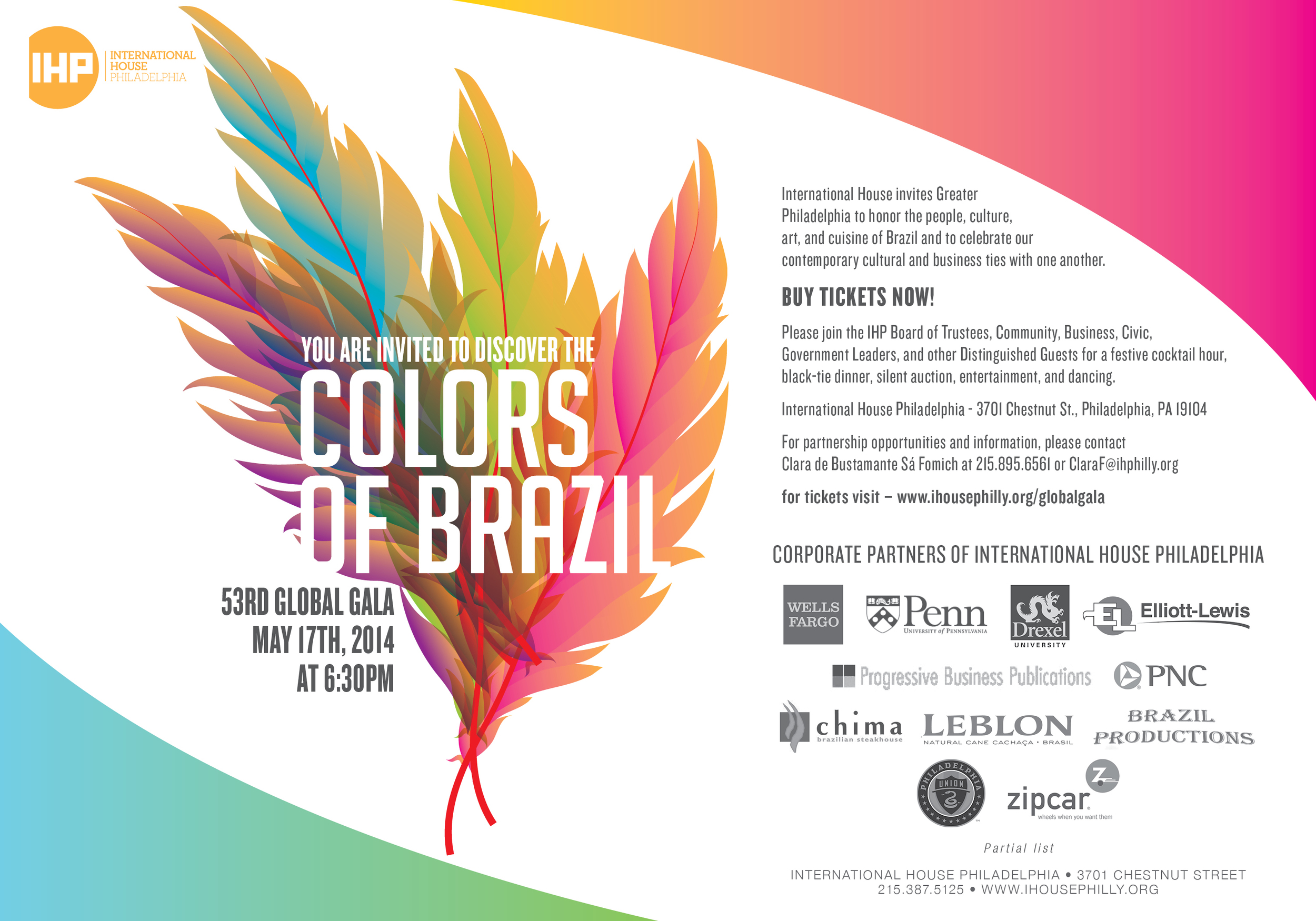 International House Philadelphia, Global Gala, Colors of Brazil, Black-tie, fundraiser, benefit