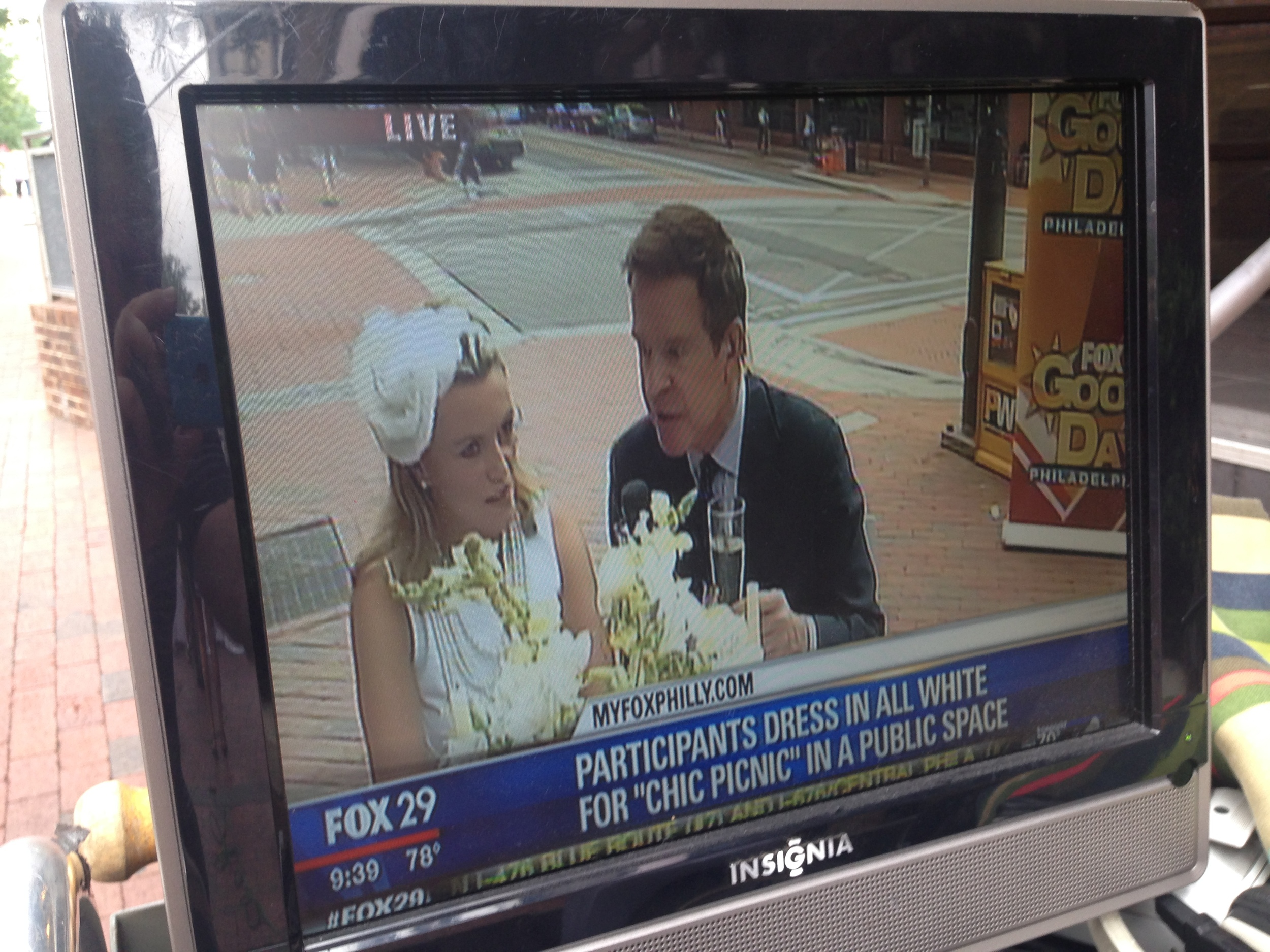 Diner en Blanc, Philadelphia, PR, TV Shoot, Fox 29, Good Day Philadelphia, Mike Jerrick, DiBruno Bros