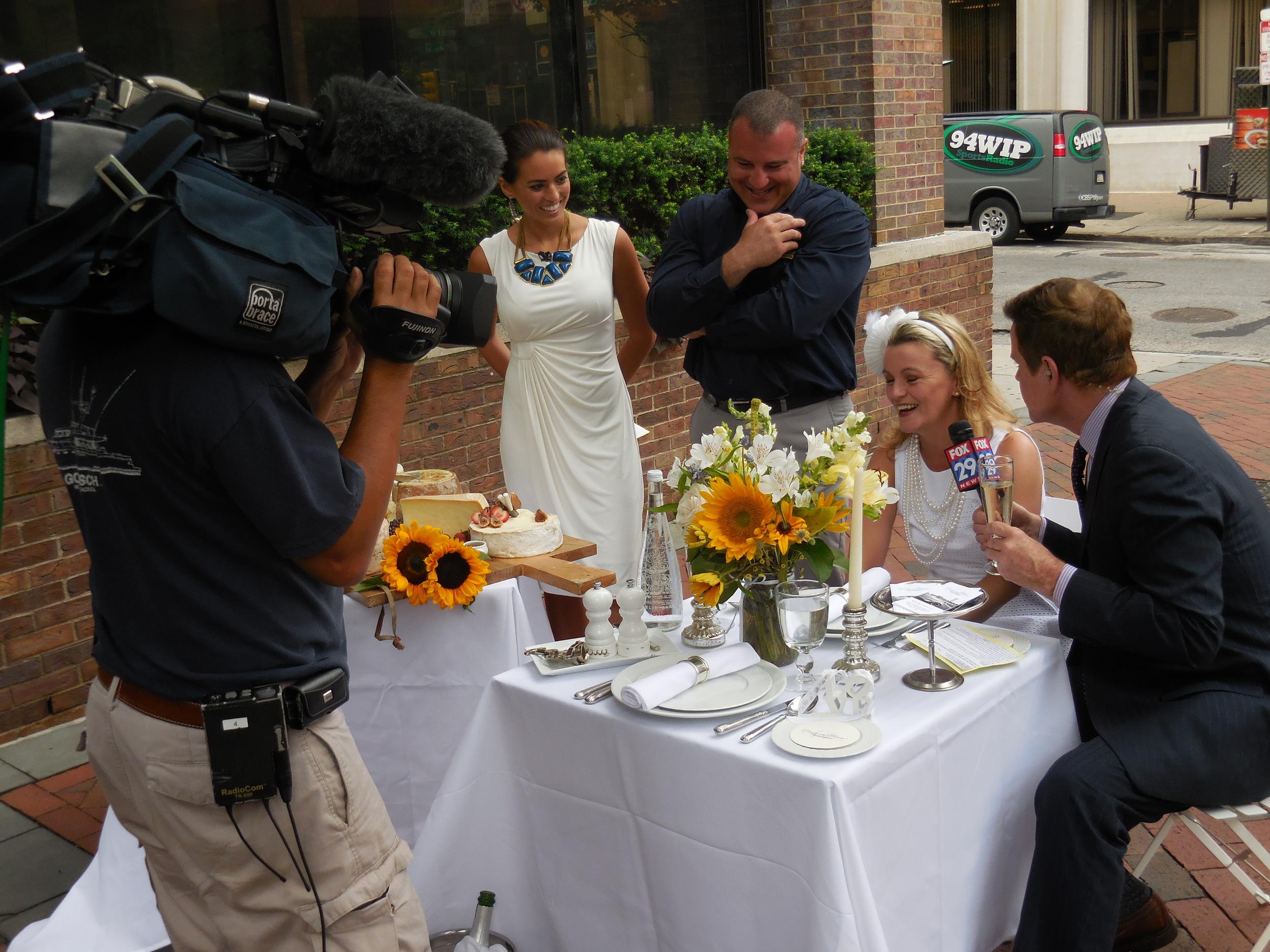 Diner en Blanc, Philadelphia, PR, TV Shoot, Fox 29, Good Day Philadelphia, Mike Jerrick, DiBruno Bros