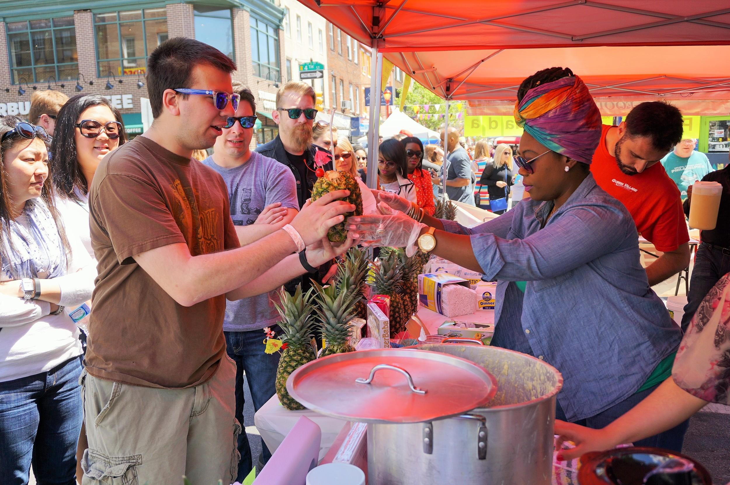 Queen Village Food Market made fresh pinapple virgin pina coladas.JPG