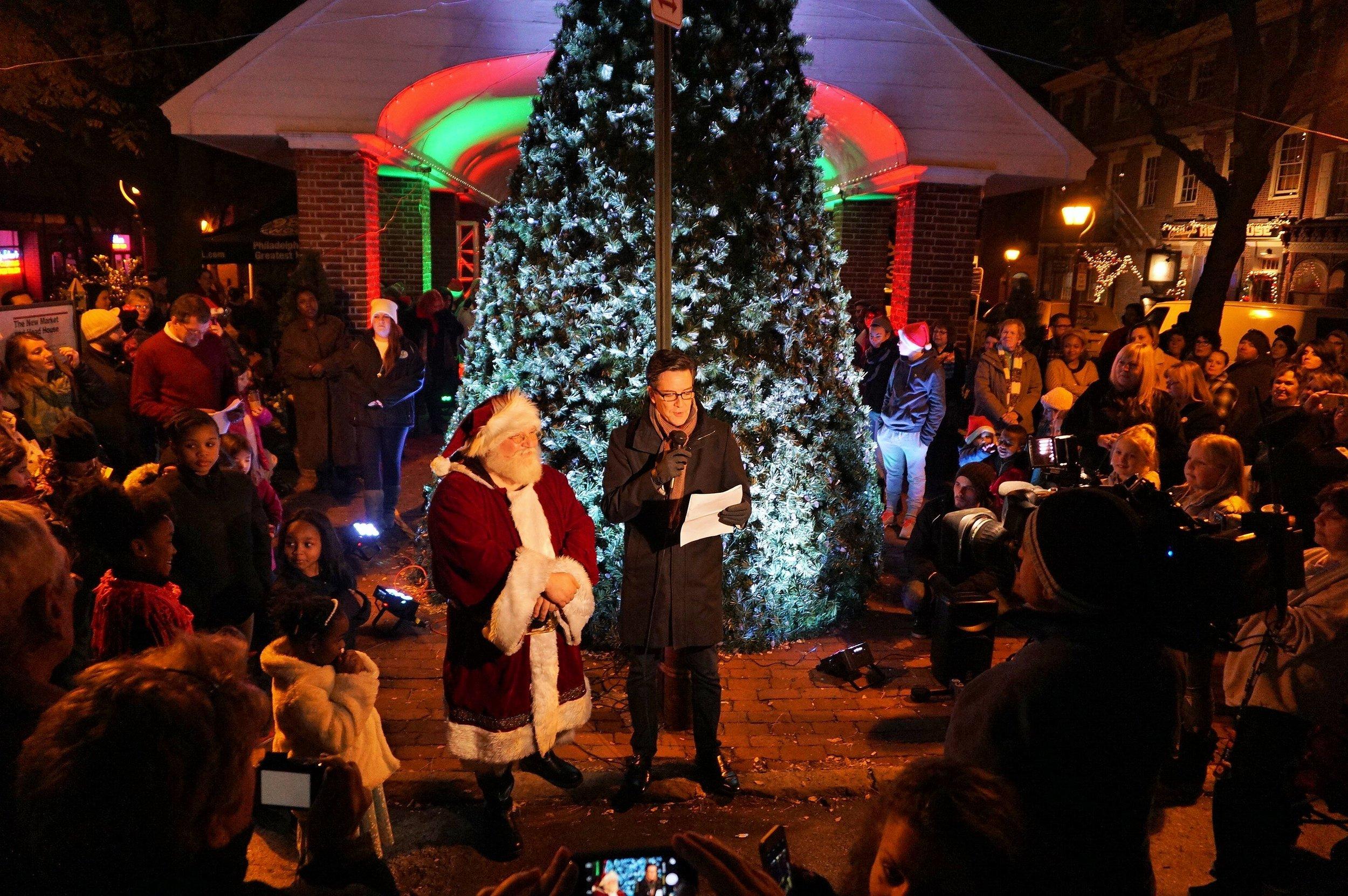Tree lighting, South Street, Jim Donovan, Santa