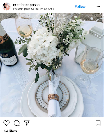 We love the gold accents with this table.