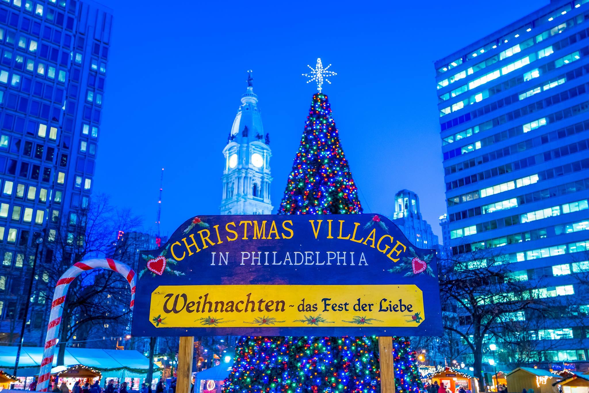 christmas village in philadelphia, love park