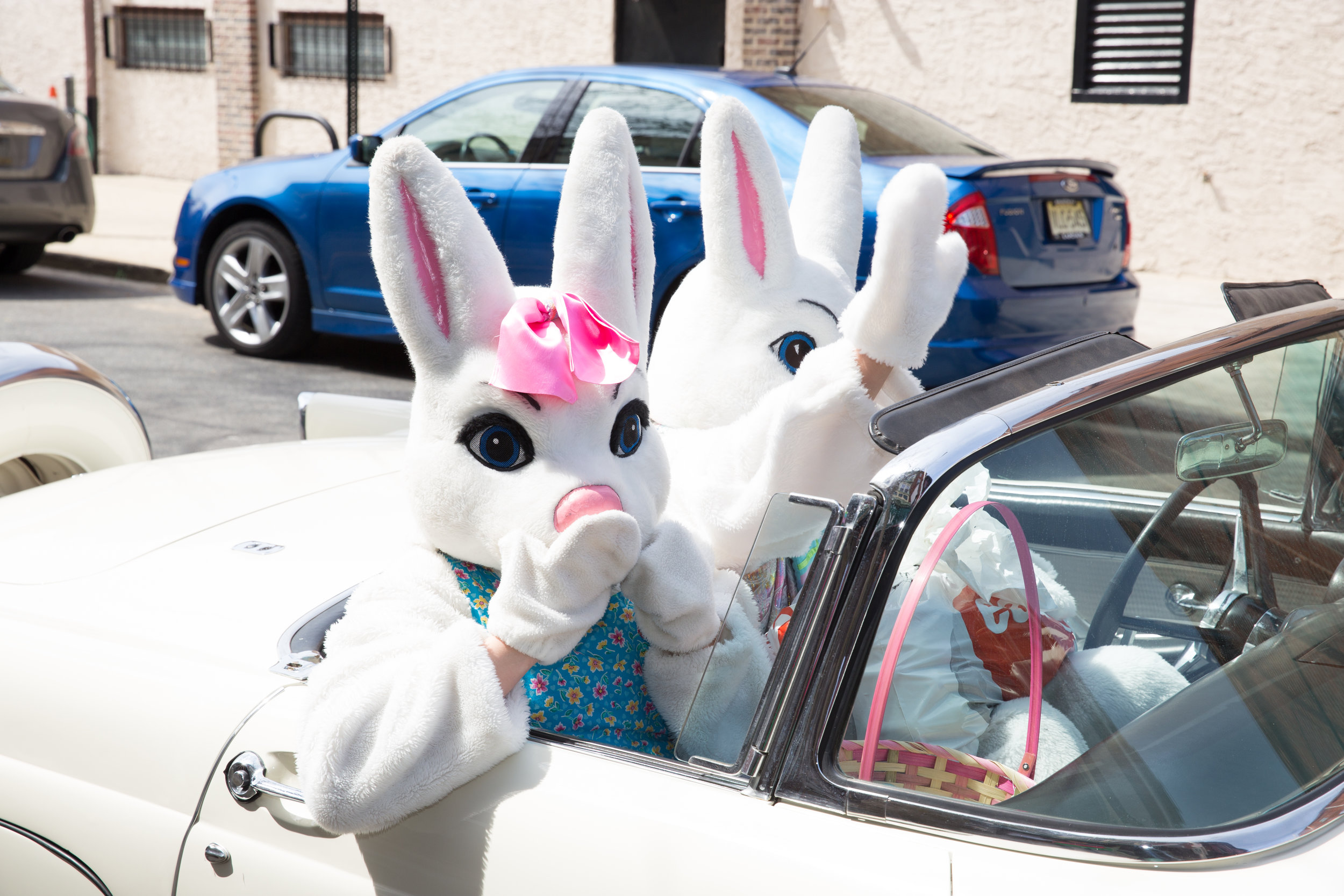 Mr and Mrs. Peter Cottontail throwing Easter kisses to the children watching on South Street - 2015.jpg