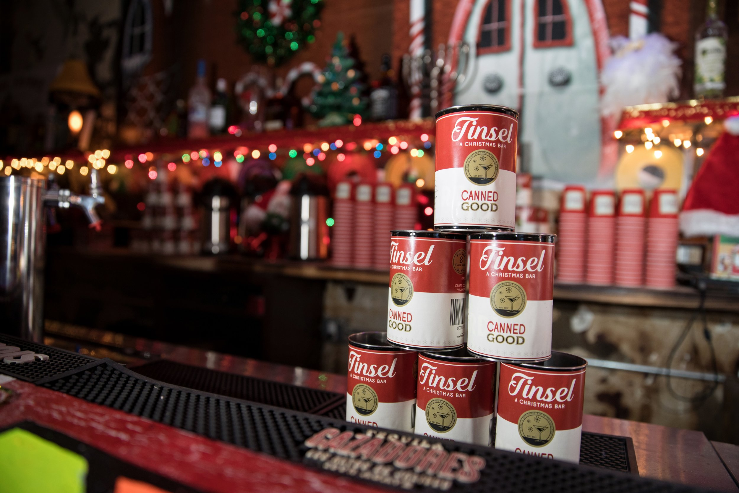 "Philadelphia Christmas Bar Tinsel ""Canned Good"" Cocktail"