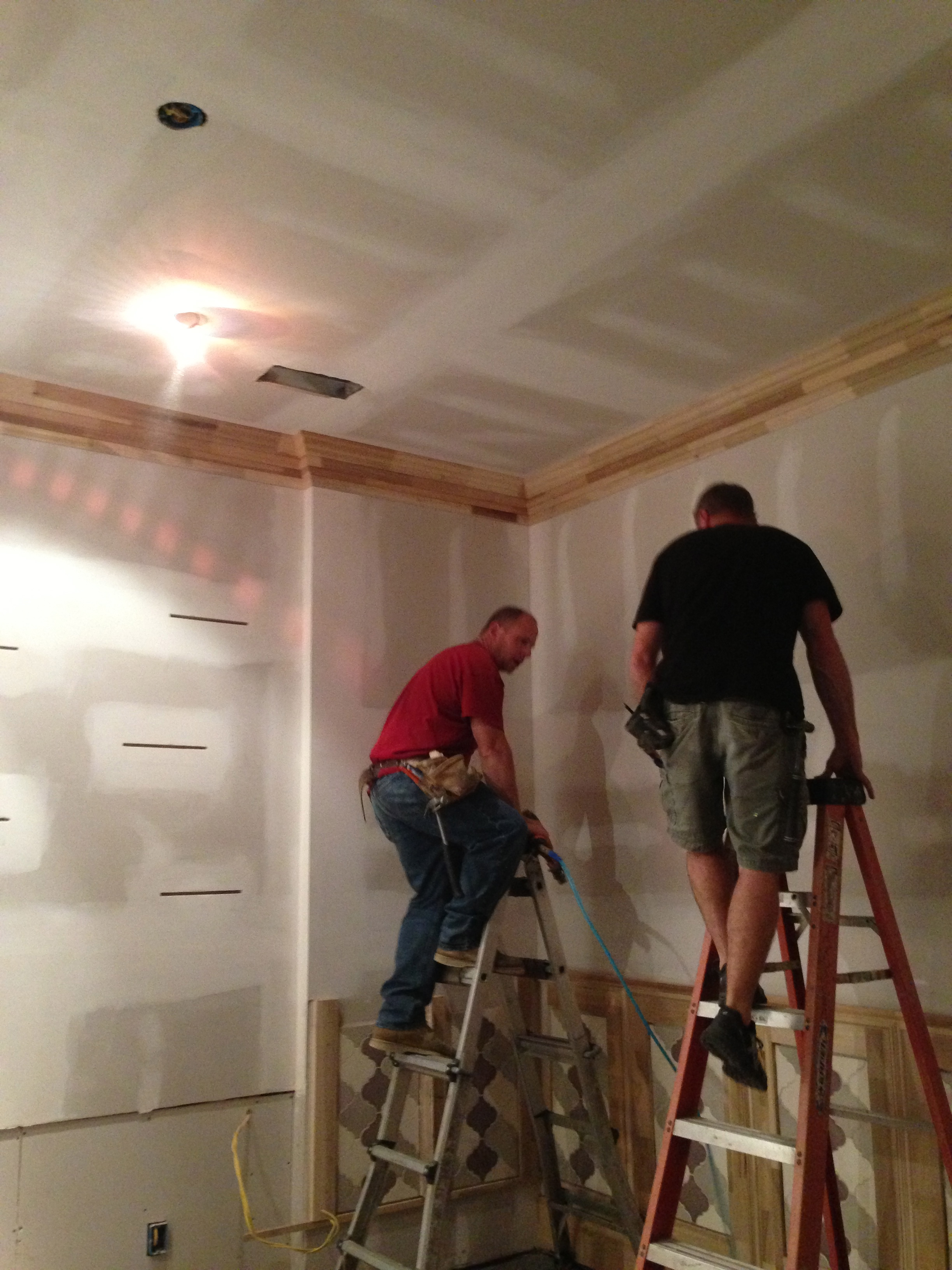 Espresso Room - In Process.  Custom five piece crown molding being installed.