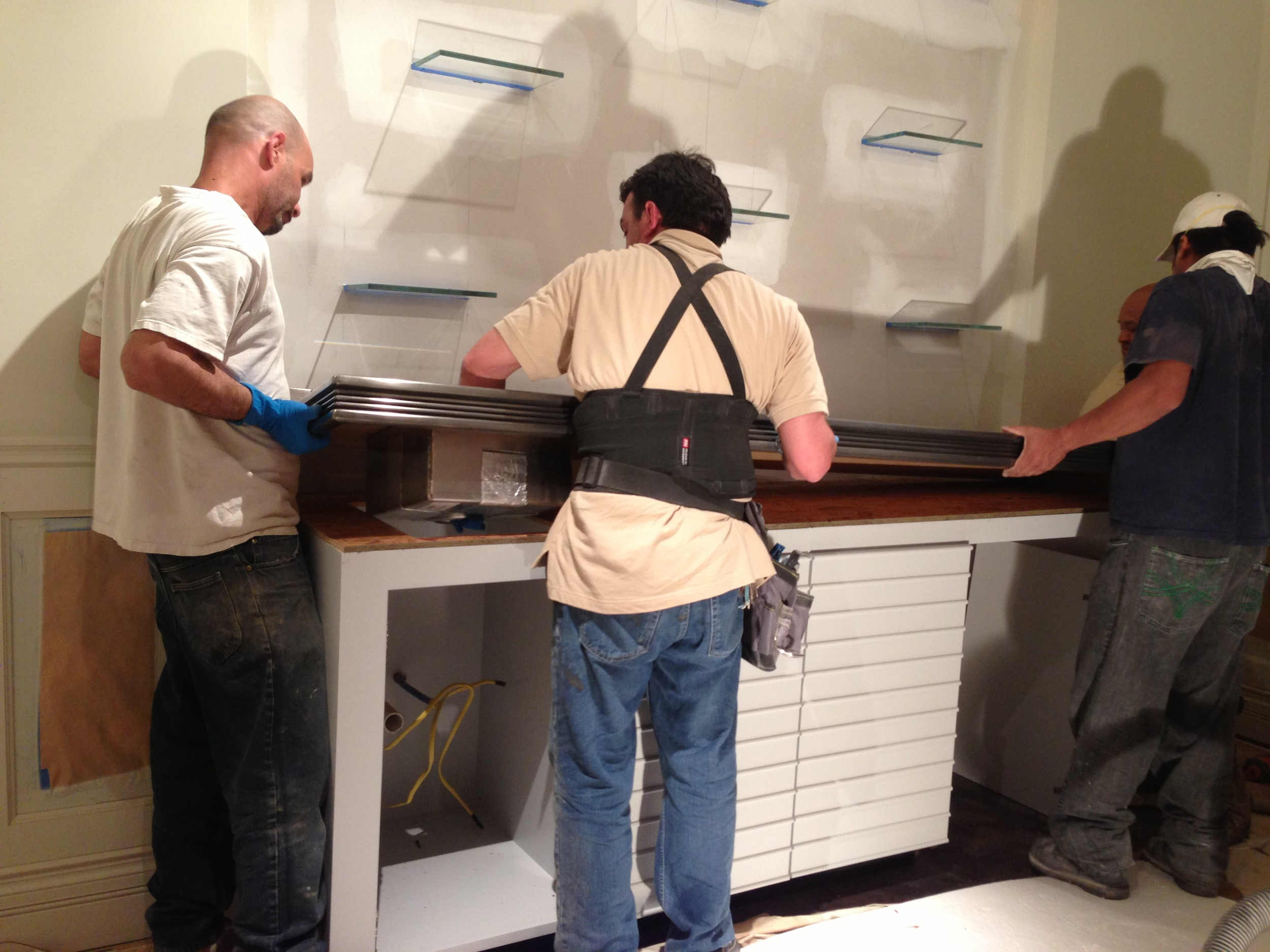 Espresso Room - In Process.  The pewter countertop being installed