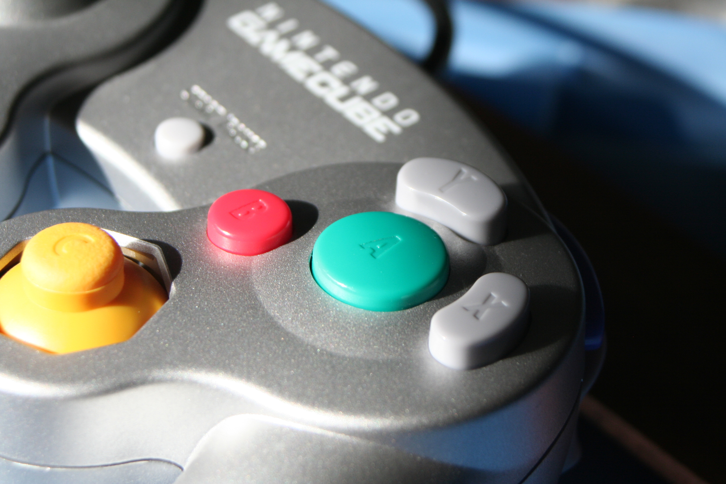 A close-up of the GameCube button layout.