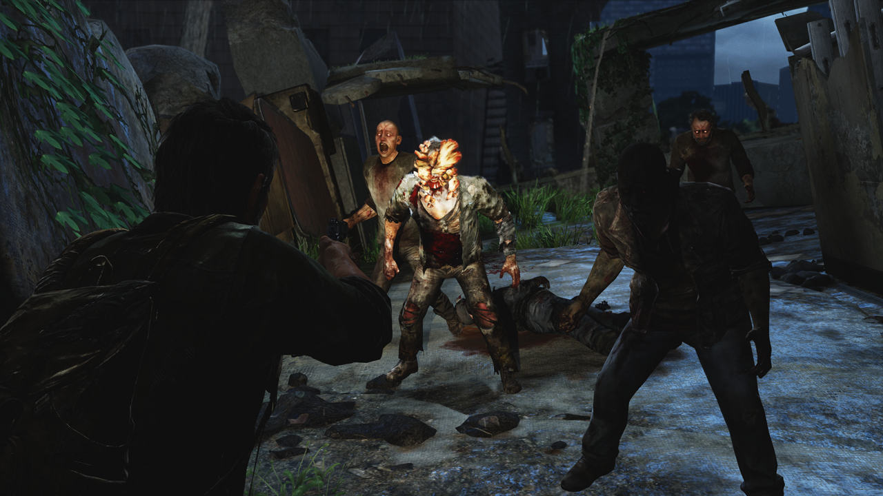 Joel fights off a group of people infected by Cordyceps. The one with a growth on his head is a Clicker.