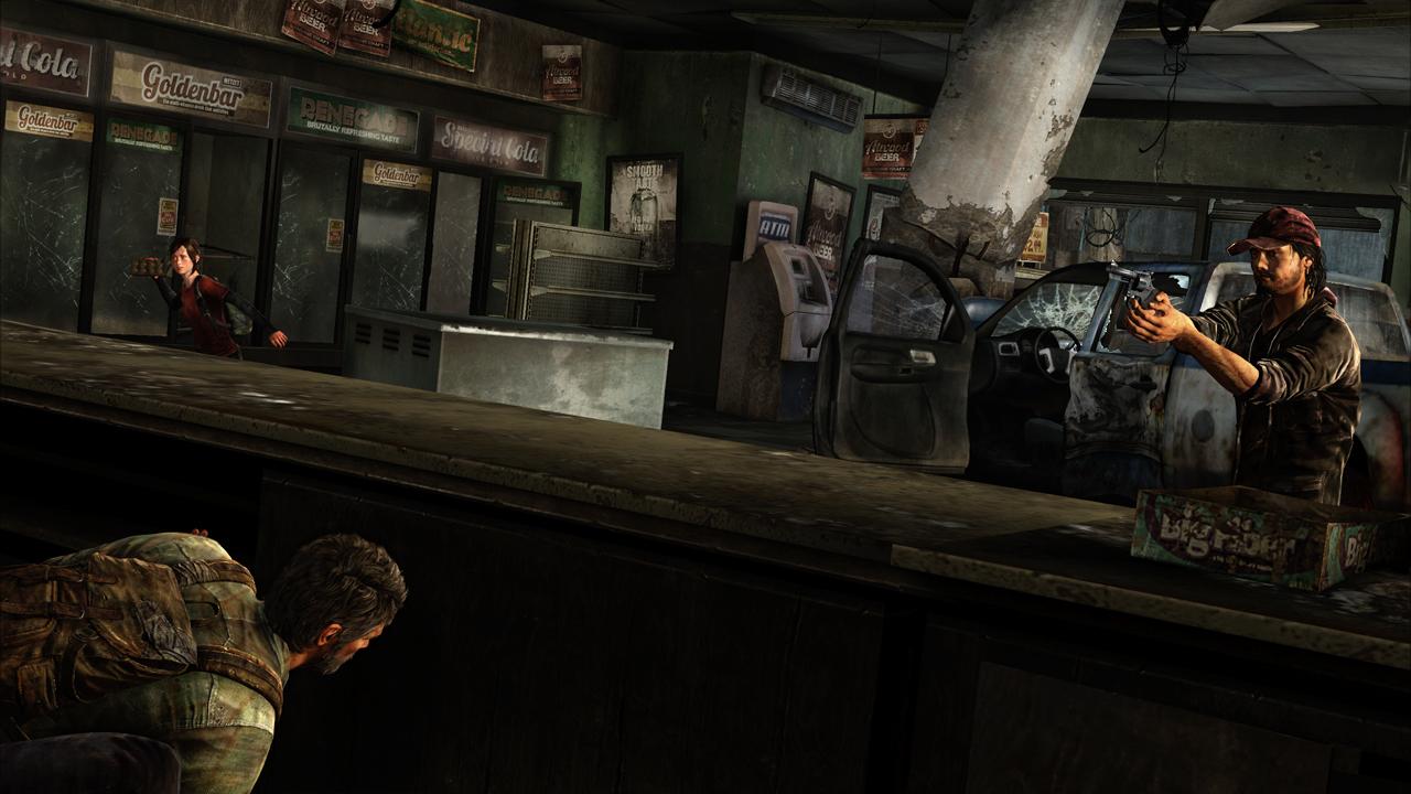 Joel hides, and Ellie prepares to distract an enemy.