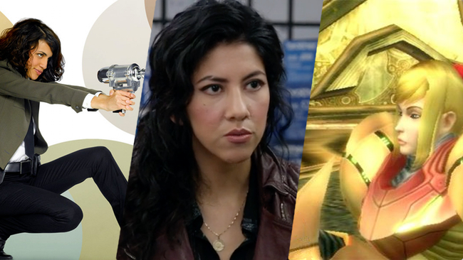 Examples: Wendy Watson,   The Middleman ; Rosa Diaz,   Brooklyn Nine-Nine ; Samus Aran,  Metroid