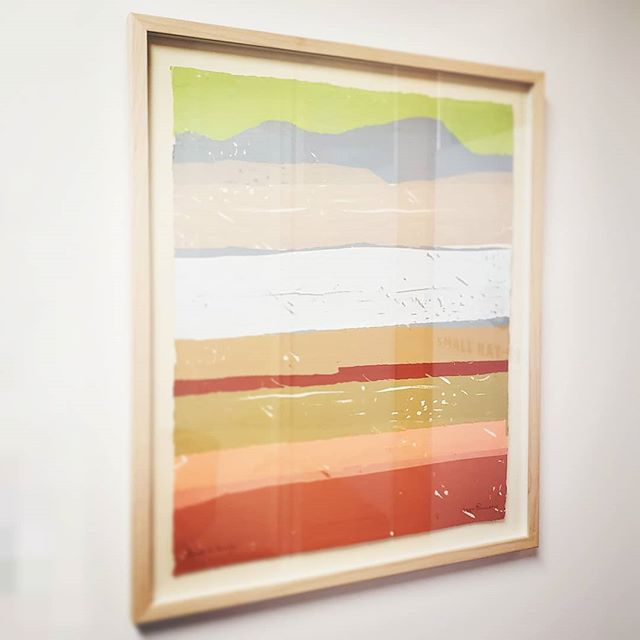"""New piece of artwork acquired for the office! This serigraph by Swedish-American artist Daga Ramsey is titled, """"Road to Marfa."""" Thanks @thejanushouse I love it! . . . #art #artwork #serigraph #serigraphy #silkscreen #print #printing #west #texas #marfa #mod #midcenturymodern"""