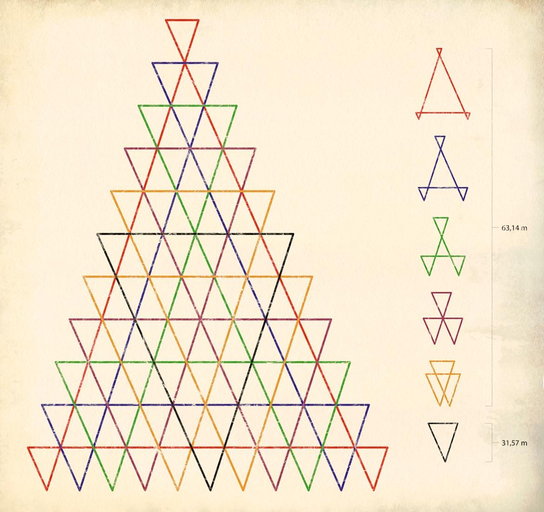 Mallar för upphängningen. Nej, triangelformerna har  naturligtvis  ingen esoterisk, psykotronisk funktion. Oh nej.