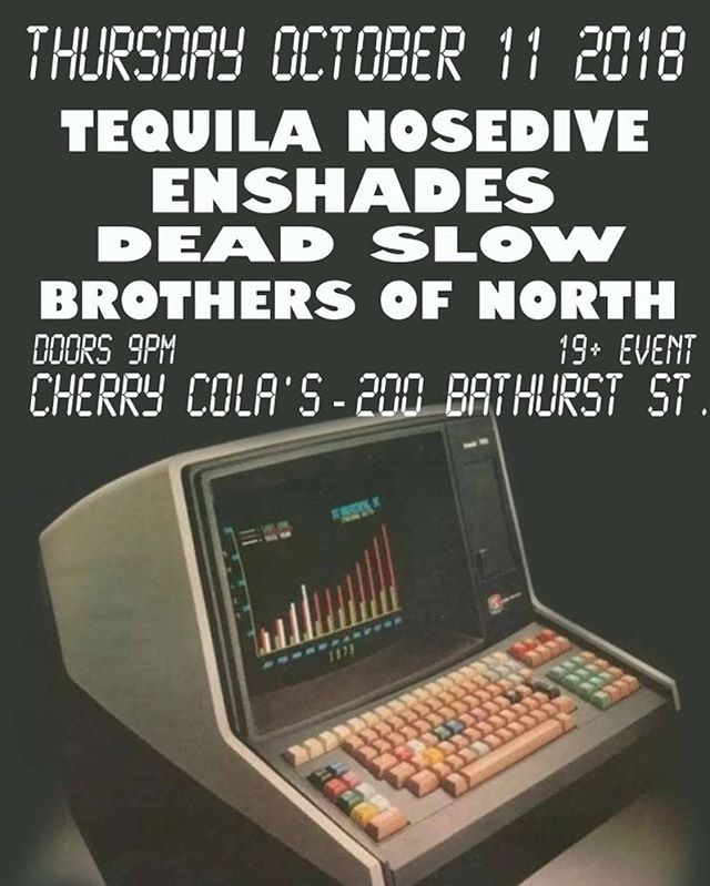 Boom! Show time people! Thursday's the new Friday! Come on down to @cherrycolastoronto Thursday! Maybe we'll play a BRAND NEW SONG?!?!