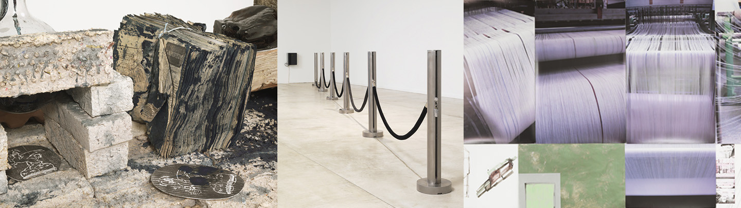Left: Julia Feyrer and Tamara Henderson,  Newspaper/Boiler Room Table  (detail), 2013–16, from  The Last Waves: Laboratory , 2015–16. Center: Germaine Koh,  Fair-weather forces (water level),  2008. Right: Shelagh Keeley,  Notes on Obsolescence  (detail), 2014. Photos: Rachel Topham, Vancouver Art Gallery.